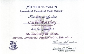 Carol Worthey ACME Award Certificate