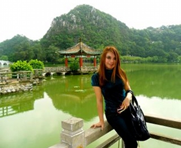 Helen Lin at Seven-Star Rocks, China -- what a gorgeous and historic place!