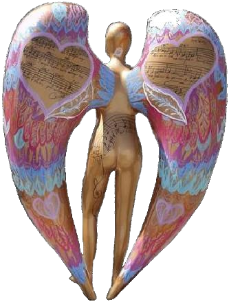 Angel of Music, Interactive Artwork ©2001 Carol Worthey; Sculpture designed by Tony Sheets; Words & Music ©2001 Carol Worthey.